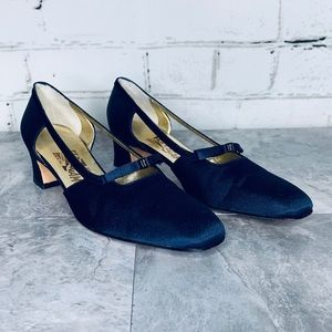 Salvatore Ferragamo Blue Satin MaryJane Block Heel